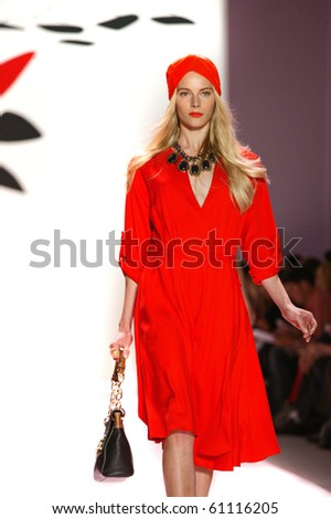 NEW YORK - SEPTEMBER 15: A model is walking the runway at the Milly by Michelle Smith collection presentation for Spring/Summer 2011 during Mercedes-Benz Fashion Week on September 15, 2010 in New York - stock photo