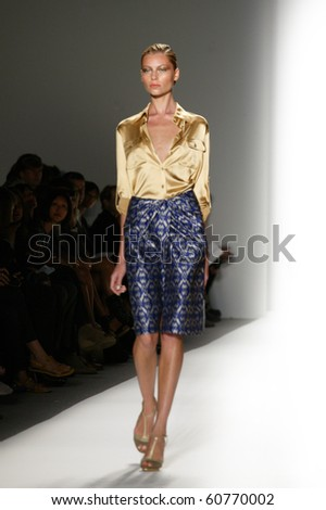 NEW YORK - SEPTEMBER 10: A model is walking the runway at the RUFFIAN collection presentation for Spring/Summer 2011 during Mercedes-Benz Fashion Week on September 10, 2011 in New York.