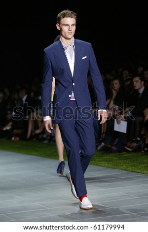 NEW YORK - SEPTEMBER 12: A model is walking the runway at the Tommy Hilfiger collection presentation for Spring/Summer 2011 during Mercedes-Benz Fashion Week on September 12, 2010 in New York - stock photo