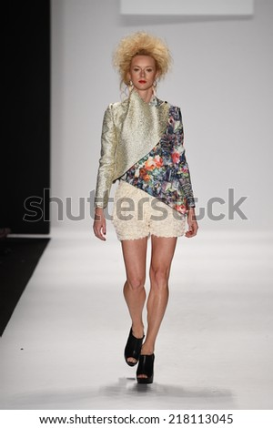 NEW YORK - SEPTEMBER 11: A Model walks runway for Altaf Maaneshia Spring/Summer 2015 presentation at Mercedes-Benz Fashion Week during New York Fashion Week on September 11, 2014 in NYC.