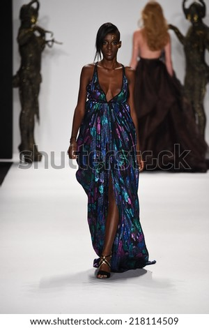 NEW YORK - SEPTEMBER 11: A Model walks runway for MTCostello Spring/Summer 2015 presentation at Mercedes-Benz Fashion Week at Lincoln Center during New York Fashion Week on September 11, 2014 in NYC.