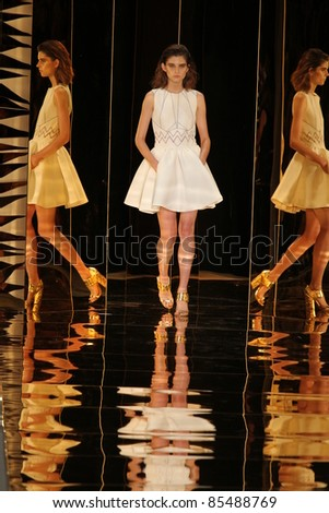 NEW YORK - SEPTEMBER 9: A model walks the runway at the Cynthia Rowley S/S 2012 collection presentation during Mercedes-Benz Fashion Week on September 9, 2011 in New York - stock photo