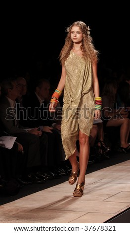 NEW YORK - SEPTEMBER 13: A model walks the runway at the Diane Von Furstenberg Collection for Spring/Summer 2010 during Mercedes-Benz Fashion Week on September 13 2009 in New York.