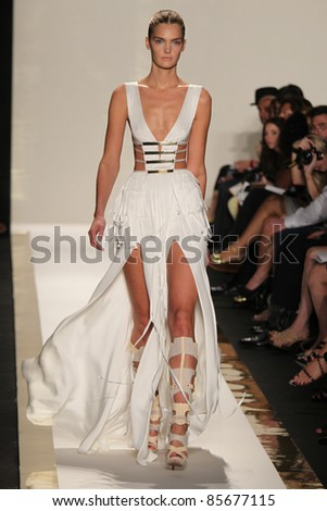 NEW YORK - SEPTEMBER 13: A model walks the runway at the Herve Leger S/S 2012 collection presentation during Mercedes-Benz Fashion Week on September 13, 2011 in New York - stock photo