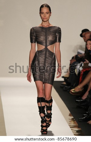 NEW YORK - SEPTEMBER 13: A model walks the runway at the Herve Leger S/S 2011 collection presentation during Mercedes-Benz Fashion Week on September 13, 2011 in New York - stock photo