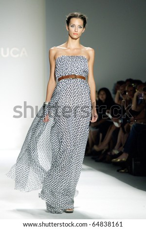 NEW YORK - SEPTEMBER 14: A model walks the runway at the Luca Luca collection presentation for Spring/Summer 2011 during Mercedes-Benz Fashion Week on September 14, 2010 in New York. - stock photo
