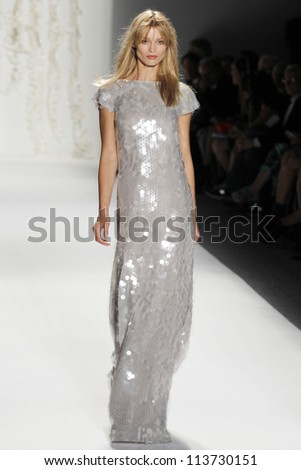 NEW YORK - SEPTEMBER 12: A model walks the runway at the RACHEL ZOE Spring/Summer 2013 collection Mercedes-Benz Fashion Week in New York on September 12, 2012 - stock photo