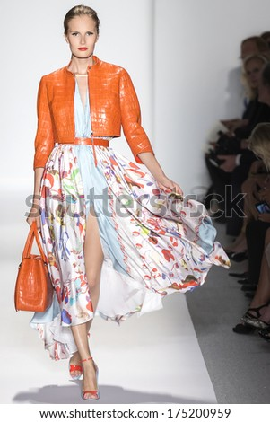 NEW YORK - SEPTEMBER 10 2013: Alla Kostromicheva is walking the runway at Dennis Basso fashion show for the 2014 Spring collection during Mercedes-Benz Fashion Week - stock photo