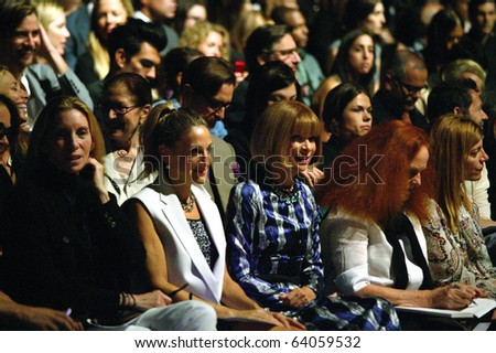 NEW YORK - SEPTEMBER 14: Anna Wintour and Sarah Jessica Parker attend  Narcisco Rodriguez runway presentation for Spring/Summer 2011 during Mercedes-Benz Fashion Week on September 14, 2010 in New York - stock photo