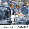 NEW YORK - SEPTEMBER 03: Anna Wintour of Vogue attends 4th round match betwee Serena Williams of USA & Andrea Hlavackova of Czech Republic at US Open tennis tournament on September 3, 2012 in New York - stock photo