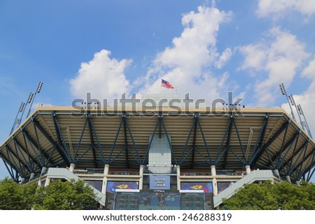 NEW YORK - SEPTEMBER 2, 2014 Arthur Ashe Stadium during US Open 2014 at Billie Jean King National Tennis Center in New York  - stock photo