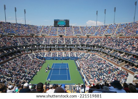 NEW YORK - SEPTEMBER 6  Arthur Ashe Stadium during US Open men semifinal match between Novak Djokovic and Kei Nishikori at Billie Jean King National Tennis Center on September 6, 2014 in New York  - stock photo