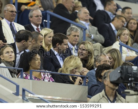 NEW YORK - SEPTEMBER 5: Barbara Bush; Jenna Bush-Hager attend quarterfinal match between Novak Djokovic of Serbia & Mikhail Youzhny of Russia at USTA Tennis Center on Sep 5, 2013 in New York City
