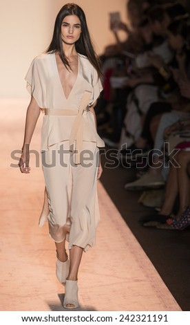 NEW YORK - SEPTEMBER 04 2014: Blanca Padilla is walking the runway at BCBGMAXAZRIA Spring 2015 Ready-to-Wear Show during Mercedes-Benz Fashion Week at Lincoln Center - stock photo