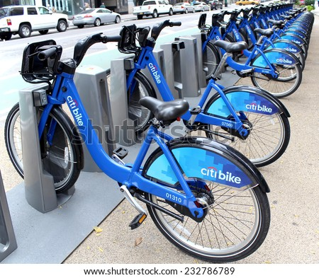 NEW YORK -  SEPTEMBER 02: Citi Bike docking station on September 02, 2013 in New York. Citi Bike is a privately owned for-profit public bicycle sharing system, for getting around New York City.  - stock photo