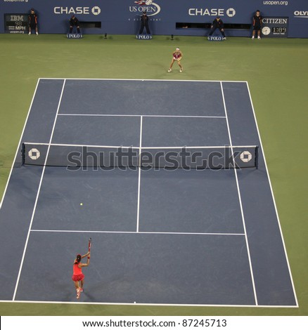 NEW YORK - SEPTEMBER 02: Court view during 3rd round match between Maria Kirilenko of Russia & Christina McHale of USA at USTA Billie Jean King National Tennis Center on September 02, 2011 in New York City, NY - stock photo