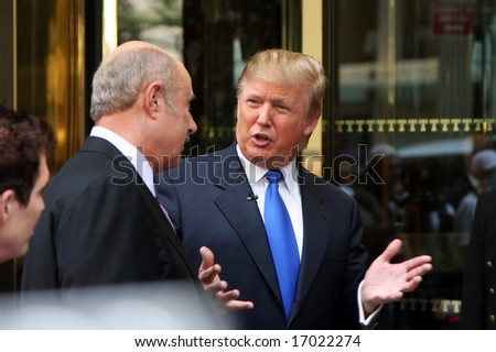 """NEW YORK - SEPTEMBER 3: Donald Trump and Dr. Phil are recording a new episode of """"The Biggest Loser"""" weight loss program, September 3, 2008. - stock photo"""