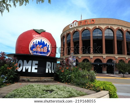 NEW YORK - SEPTEMBER 3: Famous Home Run Apple from demolished Shea Stadium on display outside Citi Field on September 3, 2014 in New York. The apple now greets fans from the No. 7 train subway.  - stock photo