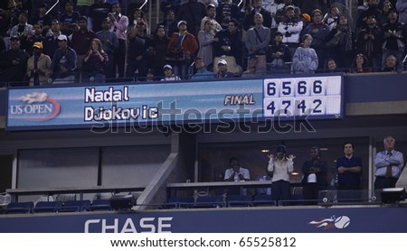 NEW YORK - SEPTEMBER 13: Final score of the match of US Open Tennis Championship between Rafael Nadal and  Novak Djokovic of Serbia on September 13, 2010 in New York, City. - stock photo