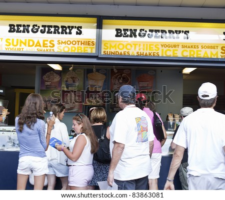 NEW YORK - SEPTEMBER 01: Food court with Ben & Jerry's at US Open at USTA Billie Jean King National Tennis Center on September 01, 2011 in New York City. - stock photo