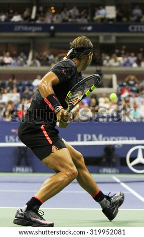 NEW YORK - SEPTEMBER 4, 2015: Fourteen times Grand Slam Champion Rafael Nadal of Spain during his match at US Open 2015 at Billie Jean King National Tennis Center in New York - stock photo