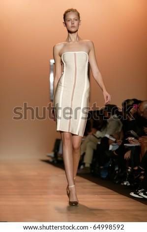 NEW YORK - SEPTEMBER 14: Frida Gustavsson walks the runway at the Herve Leger Collection presentation for Spring/Summer 2011 during Mercedes-Benz Fashion Week on September 14, 2010 in New York. - stock photo