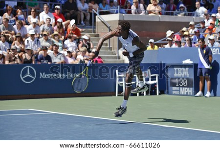 NEW YORK - SEPTEMBER 04: Gael Monfils of France returns a ball during match against Janko Tipsarevic of Serbia at US Open Tennis Championship on September 04, 2010 in New York, City.