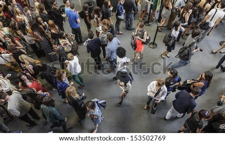 NEW YORK - SEPTEMBER 8: General atmosphere on the floor during Mercedes-Benz Fashion Week at Lincoln Center in New York City on September 8, 2013  - stock photo