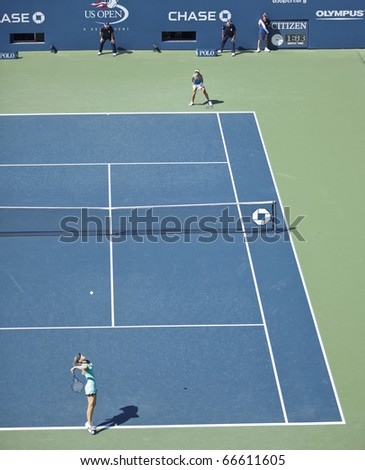 NEW YORK - SEPTEMBER 04: General view of Arthur Ashe stadium during match between Maria Sharapova of Russia and Beatrice Capra of USA at US Open Tennis Championship on September 04, 2010 in NYC - stock photo