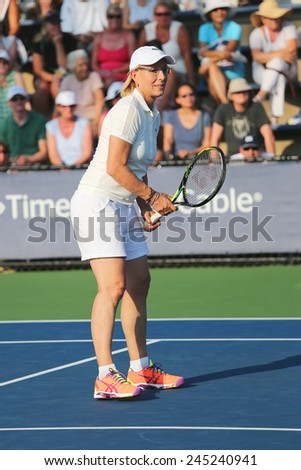 NEW YORK - SEPTEMBER 4, 2014: Grand Slam champion Martina Navratilova during  Women's Champions Doubles match at US Open 2014 at National Tennis Center in New York - stock photo