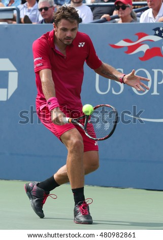 NEW YORK - SEPTEMBER 5, 2016: Grand Slam champion Stanislas Wawrinka of Switzerland in action during his round four match at US Open 2016 at Billie Jean King National Tennis Center in NY