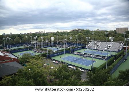 NEW YORK - SEPTEMBER 9: Grounds of the USTA Billie Jean King National Tennis Center during the 2010 US Open on September 9, 2010 in New York. - stock photo