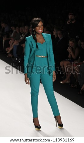 NEW YORK - SEPTEMBER 07: Jennifer Hudson walks the runway for Project Runway Collection during Spring/Summer 2013 at Mercedes-Benz Fashion Week on September 07, 2012 in New York - stock photo
