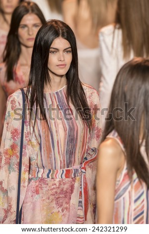 NEW YORK - SEPTEMBER 04 2014: Kamila Hansen walks the runway at Finale BCBGMAXAZRIA Spring 2015 Ready-to-Wear Show during Mercedes-Benz Fashion Week at Lincoln Center - stock photo