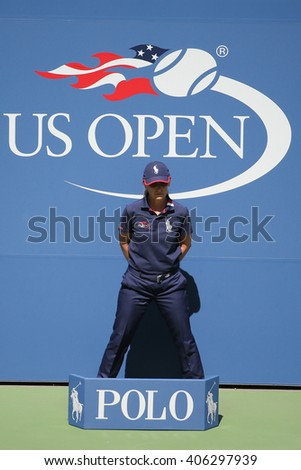 NEW YORK - SEPTEMBER 6, 2015: Line judge during match at US Open 2015 at Billie Jean King National Tennis Center - stock photo