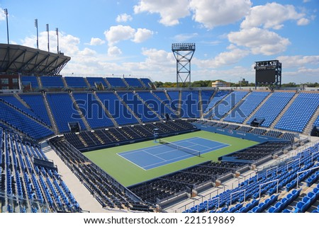 NEW YORK - SEPTEMBER 7: Luis Armstrong Stadium at the Billie Jean King National Tennis Center during US Open 2014 tournament in New York on September 7, 2014 in New York - stock photo