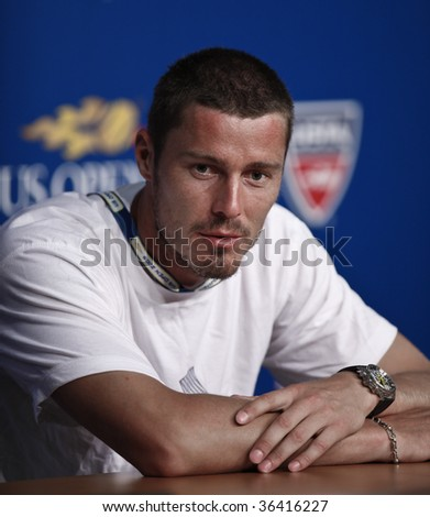 NEW YORK - SEPTEMBER 2: Marat Safin of Russia speaks at press conference at US Open on September 2, 2009 in New York.