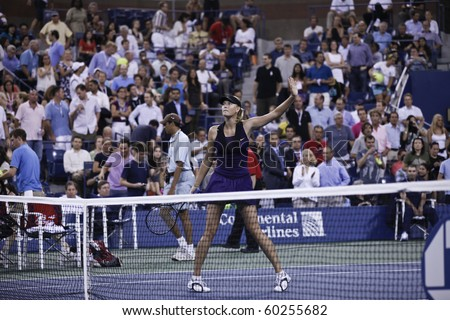 NEW YORK - SEPTEMBER 02: Maria Sharapova of Russia celebrates winning second round match against Iveta Benesova of Czech Republic at US Open tennis tournament on September 02, 2010, New York.