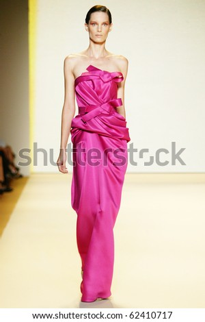 NEW YORK - SEPTEMBER 13: Model Iris Strubegger walks the runway at Carolina Herrera collection presentation for Spring/Summer 2011 during Mercedes-Benz Fashion Week on September 13, 2010 in New York - stock photo