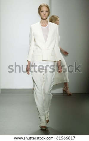 NEW YORK - SEPTEMBER 16: Model Theres is walking the runway at the Calvin Klein collection presentation for Spring/Summer 2011 during Mercedes-Benz Fashion Week on September 16, 2010 in New York