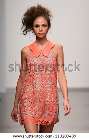 NEW YORK- SEPTEMBER 12: Model walks at the Angelys Balek Presentation at Pier 59 for Spring/ Summer 2013 during Nolcha Fashion Week on September 12, 2012 in New York City, NY - stock photo