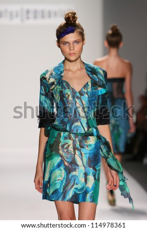 NEW YORK- SEPTEMBER 08: Model walks runway at Katya Leonovich show at Lincoln Center for S/S 2013 during Mercedes-Benz Fashion Week on September 08, 2012 in New York City, NY - stock photo