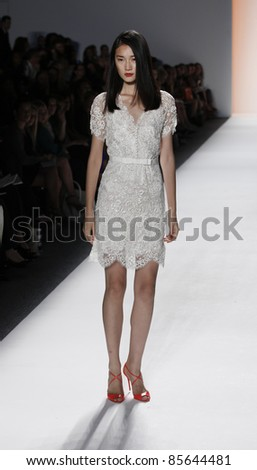 NEW YORK - SEPTEMBER 12: Model walks runway for collection by Jenny Packham at Mercedes-Benz Spring/Summer 2012 Fashion Week on September 12, 2011 in New York City