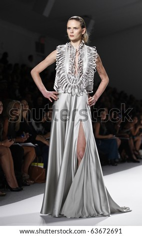 NEW YORK - SEPTEMBER 10: Model walks runway for Edition Georges Chakra Collection for Spring/Summer 2011 during Mercedes-Benz Fashion Week on September 10, 2010 in New York - stock photo