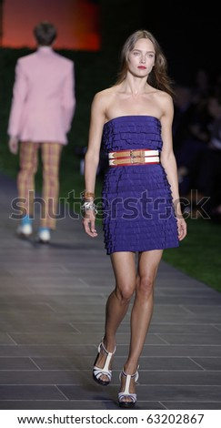 NEW YORK - SEPTEMBER 12: Model walks runway for new collection by Tommy Hilfiger on Spring/Summer 2011 during Mercedes-Benz Fashion Week on September 12, 2010 in New York