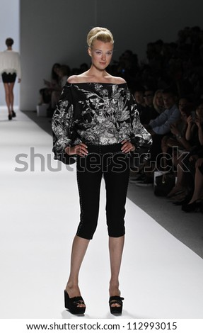 NEW YORK - SEPTEMBER 09: Model walks runway for Zang Toi presentation during Spring/Summer 2013 at Mercedes-Benz Fashion Week on September 9, 2012 in New York