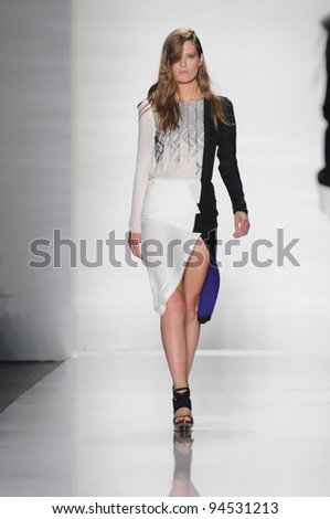 NEW YORK - SEPTEMBER 14: Model walks the runway at the J. Mendel Spring/Summer 2012 collection during New York Fashion Week on September 14, 2011 in New York City.
