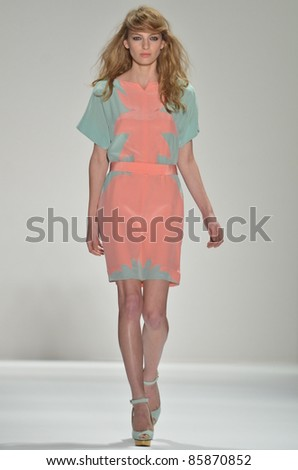 NEW YORK - SEPTEMBER 10: Model walks the runway at the Jill Stuart S/S 2012 collection presentation during Mercedes-Benz Fashion Week on September 10, 2011 in New York. - stock photo