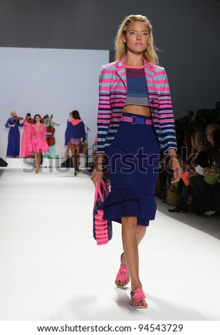 NEW YORK - SEPTEMBER 14: Model walks the runway at the Nanette Lepore Spring/Summer 2012 collection during New York Fashion Week on September 14, 2011 in New York City.