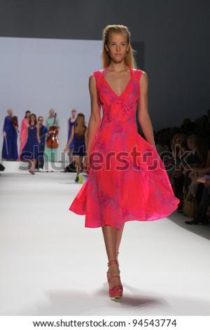 NEW YORK - SEPTEMBER 14: Model walks the runway at the Nanette Lepore Spring/Summer 2012 collection during New York Fashion Week on September 14, 2011 in New York City. - stock photo